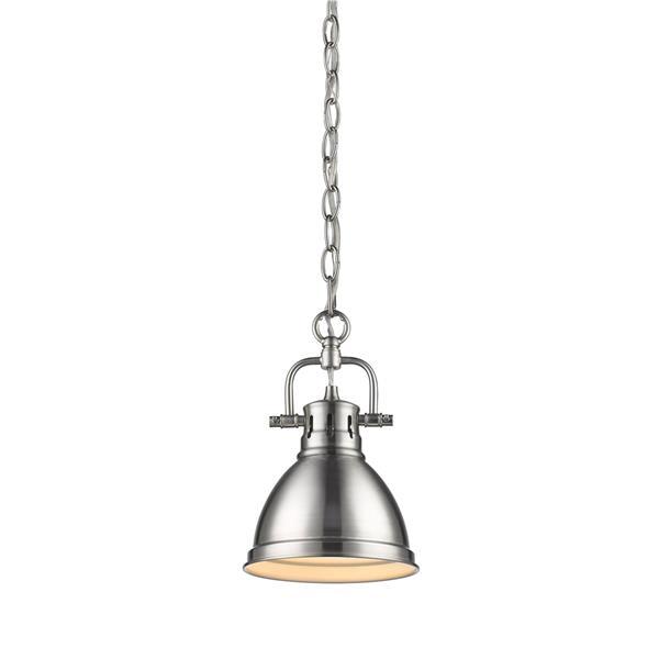 Golden Lighting Duncan Mini Pendant Light with Chain - Pewter