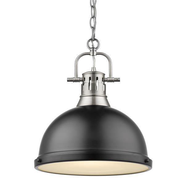 Golden Lighting Duncan 1-Light Pendant Light with Chain - Pewter