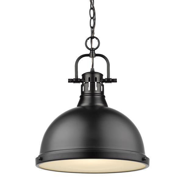 Golden Lighting Duncan 1-Light Pendant Light with Chain - Black