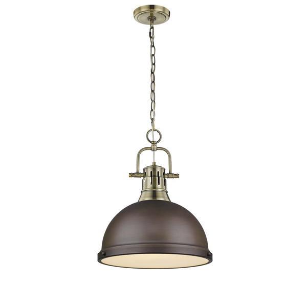 Golden Lighting Duncan 1-Light Pendant Light with Chain - Brass
