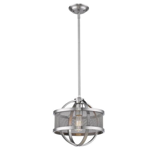 Golden Lighting Colson PW Mini Pendant Light with Shade - Pewter