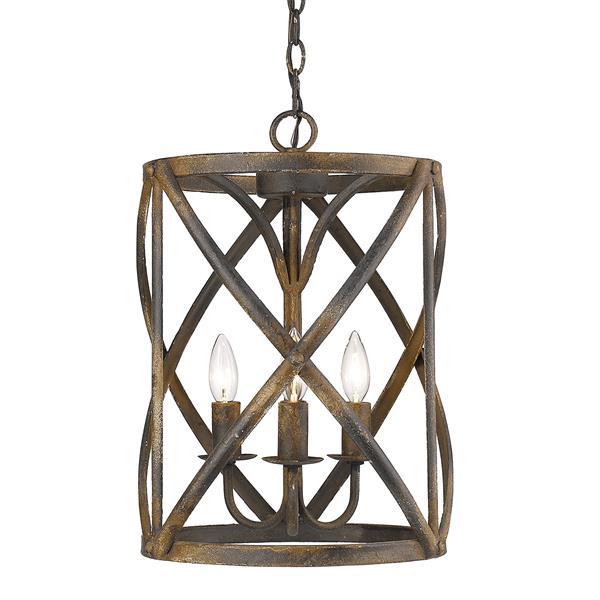 Golden Lighting Alcott 3-Light Pendant Light - Antique Black