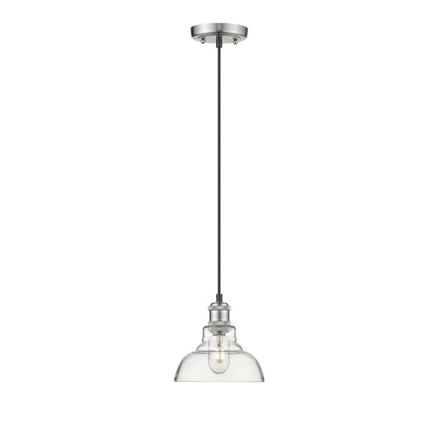 Golden Lighting Carver 1-Light Pendant Light - Pewter