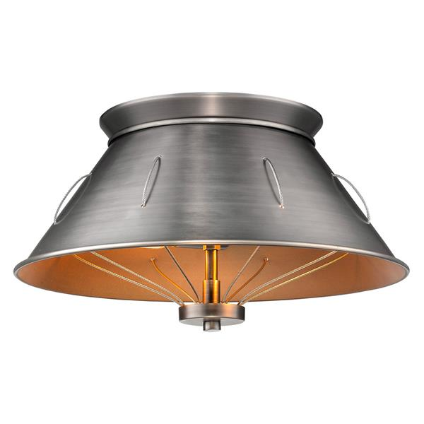 Golden Lighting Whitaker Flush Mount Light - Aged Steel