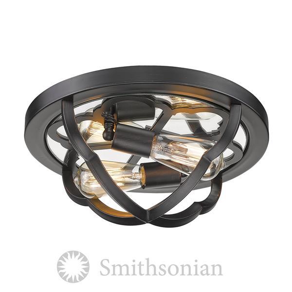 Golden Lighting Smithsonian Saxon Flush Light - Aged Bronze