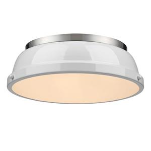 "Golden Lighting Duncan Flush Mount Ligth - 14"" - Pewter"