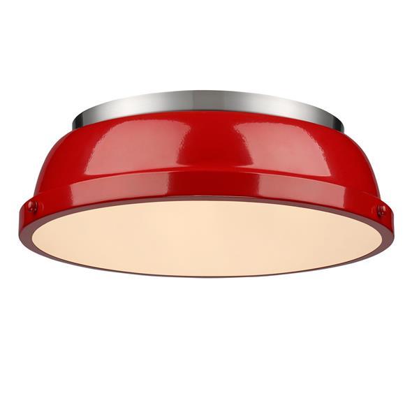 """Golden Lighting Duncan Flush Mount Light - 14"""" - Pewter"""