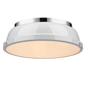 """Golden Lighting Duncan Flush Mount Light - 14"""" - Chrome"""