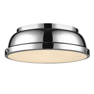 "Golden Lighting Duncan Flush Mount Light - 14"" - Chrome"