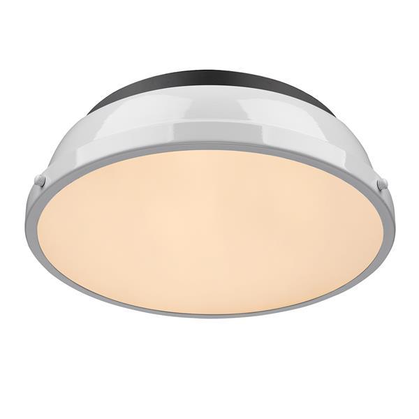 """Golden Lighting Duncan Flush Mount Light - 14"""" - Black/White"""