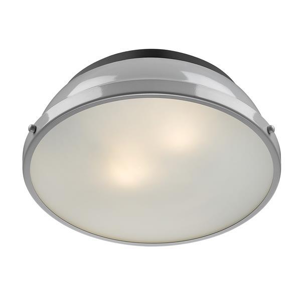 """Golden Lighting Duncan Flush Mount Light - 14"""" - Black/Gray"""