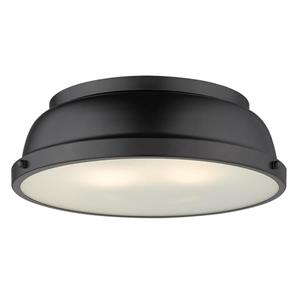 "Golden Lighting Duncan Flush Mount Light - 14"" - Black"
