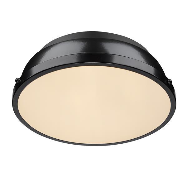 """Golden Lighting Duncan Flush Mount Light - 14"""" - Black"""