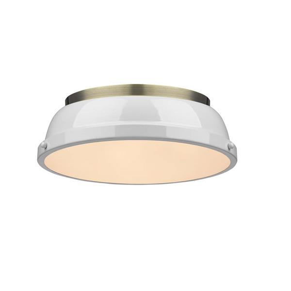 """Golden Lighting Duncan Flush Mount Light - 14"""" - Aged Brass/White"""