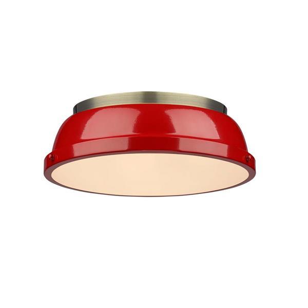 """Golden Lighting Duncan Flush Mount Light - 14"""" - Aged Brass/Red"""