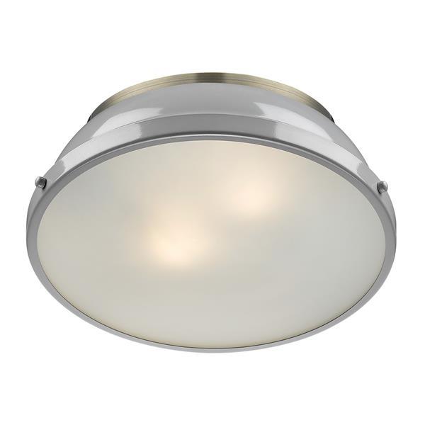 """Golden Lighting Duncan Flush Mount Light - 14"""" - Aged Brass/Gray"""