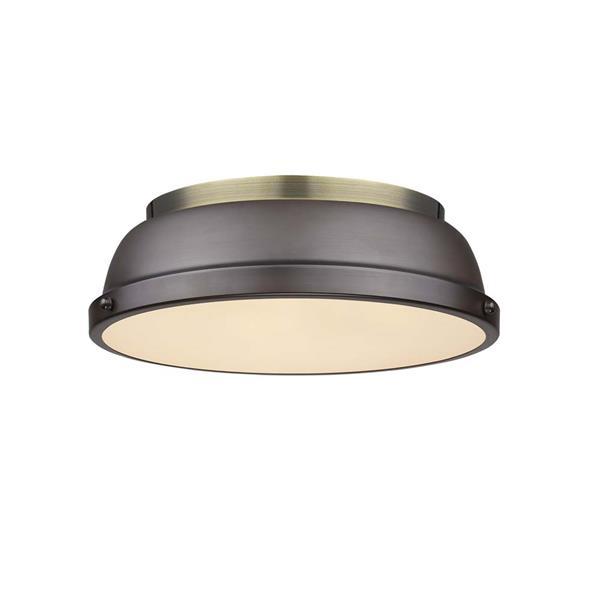 """Golden Lighting Duncan Flush Mount Light - 14"""" - Aged Brass/Bronze"""