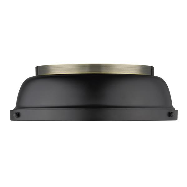Golden Lighting Duncan Flush Mount Light - Aged Brass/Black
