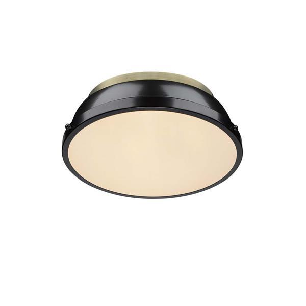 """Golden Lighting Duncan Flush Mount Light - 14""""- Aged Brass/Black"""