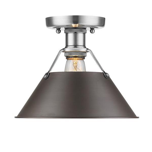 Golden Lighting Orwell PW Flush Mount Light - Pewter/Rubbed Bronze