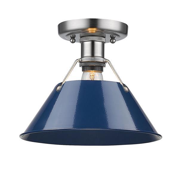 Golden Lighting Orwell PW Flush Mount Light - Pewter/Navy Blue
