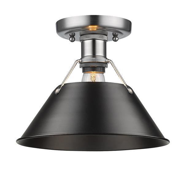 Golden Lighting Orwell PW Flush Mount Light - Pewter/Black