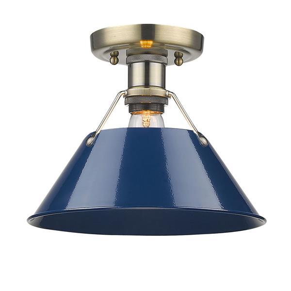 Golden Lighting Orwell AB Flush Mount Light - Aged Brass/Navy Blue