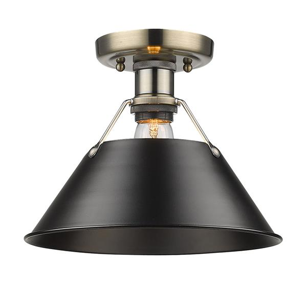 Golden Lighting Orwell AB Flush Mount Light - Aged Brass/Black
