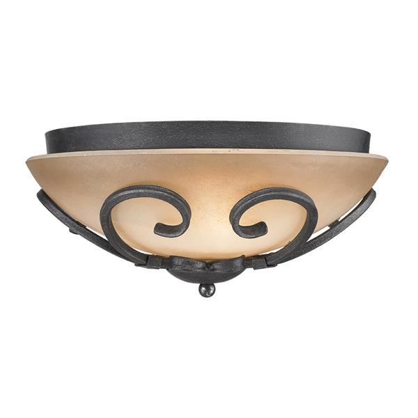 Golden Lighting Madera Flush Mount Light - Black Iron