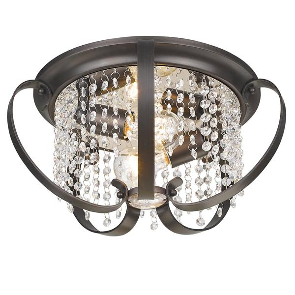 Golden Lighting Ella Flush Mount Light - Bronze