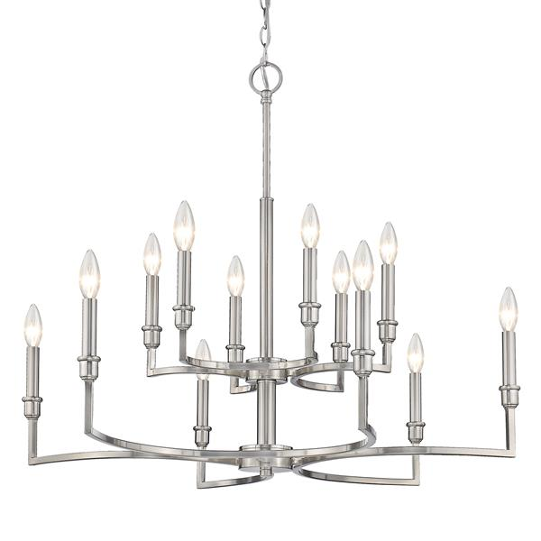 Golden Lighting Ellyn 12-Light Chandelier - 60W - Pewter