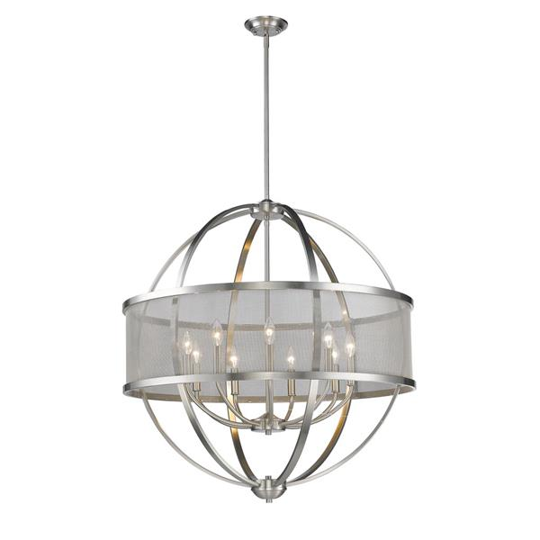 Golden Lighting Colson 9-Light Chandelier with Shade - 60W - Pewter