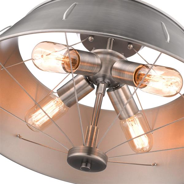 Golden Lighting Whitaker Semi-Flush Mount Light - Aged Steel