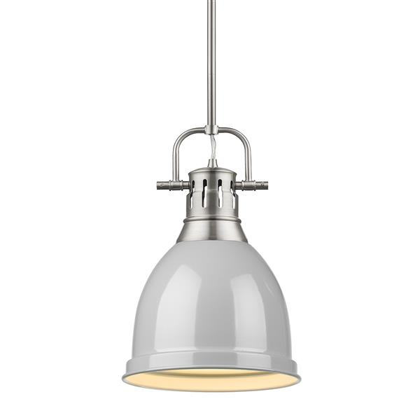 Golden Lighting Duncan Small Pendant Light with Rod - Pewter