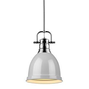 Duncan Small Pendant Light with Rod - Chrome