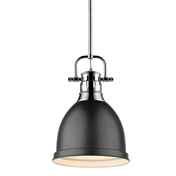 Golden Lighting Duncan Small Pendant Light with Rod - Chrome