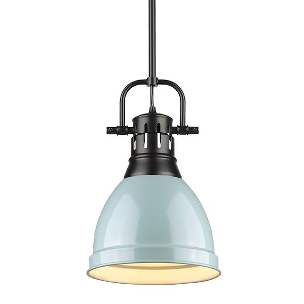 Golden Lighting Duncan Small Pendant Light with Rod - Black