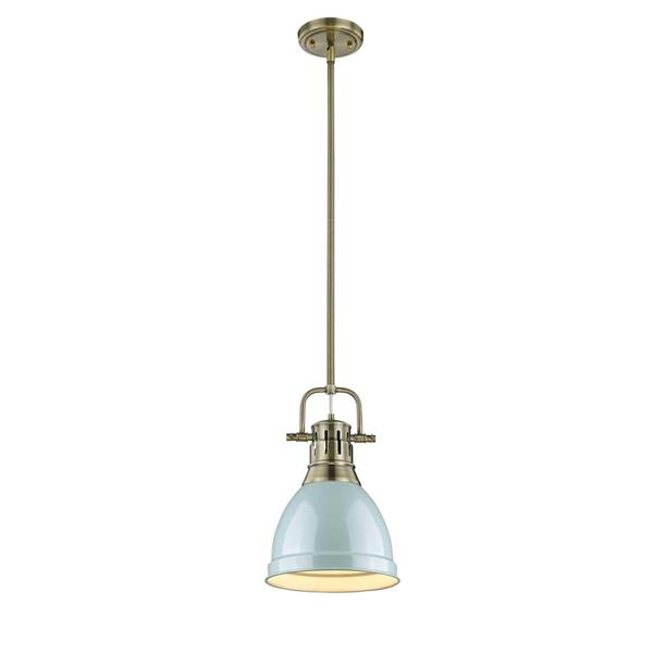 Golden Lighting Duncan Small Pendant Light with Rod - Aged Brass