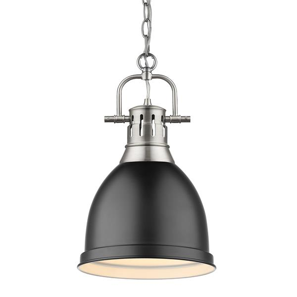 Golden Lighting Duncan Small Pendant Light with Chain - Pewter