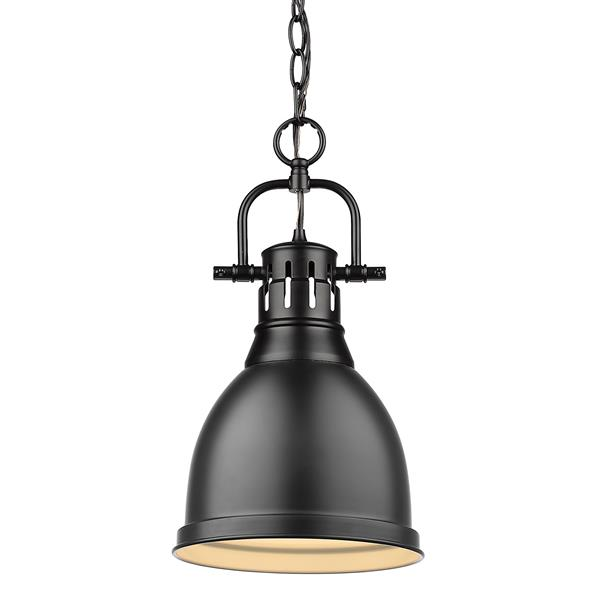 Golden Lighting Duncan Small Pendant Light with Chain - Black