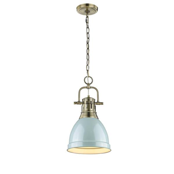 Golden Lighting Duncan Small Pendant Light with Chain - Aged Brass