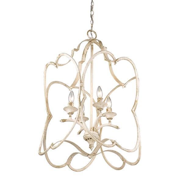Golden Lighting Sabrina 4-Light Pendant Light - Antique Ivory