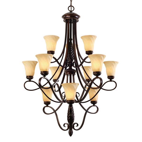Golden Lighting Torbellino 12-Light Chandelier - 60W - Cordoban Bronze