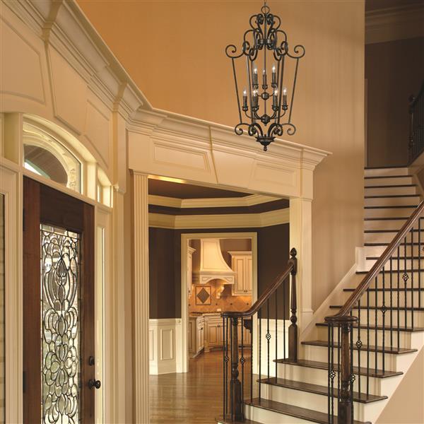 Golden Lighting Heartwood 9-Light Foyer Chandelier - 60W - Burnt Sienna