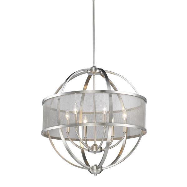 Golden Lighting Colson 6 Light Chandelier with Shade - 60W - Pewter