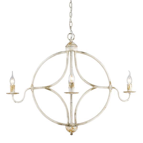 Golden Lighting Caspian 4-Light Chandelier - 60W - Antique Ivory