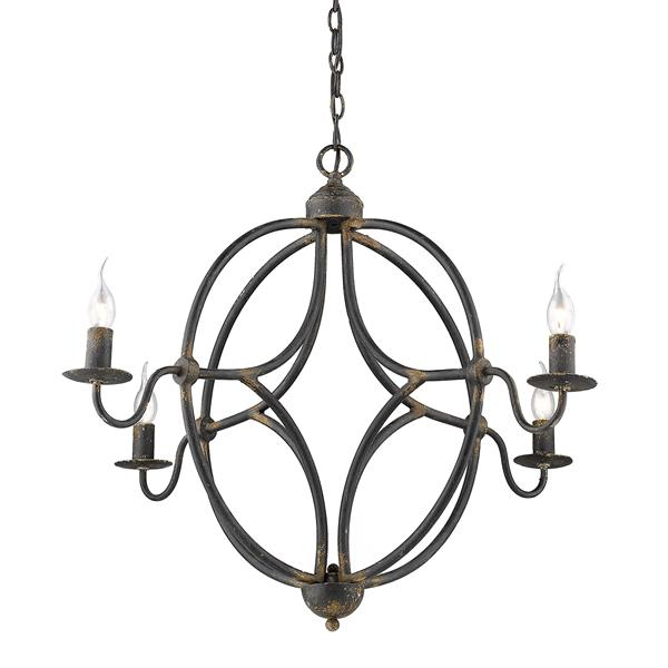 Golden Lighting Caspian 4-Light Chandelier - 60W - Antique Black