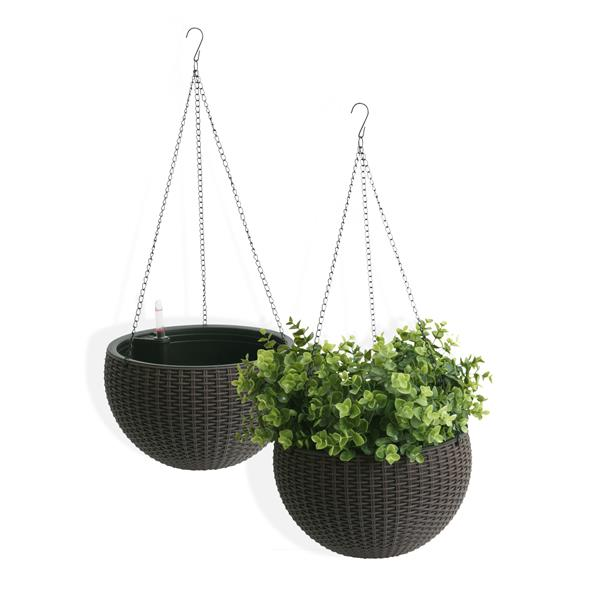"""Algreen Products Wicker Hanging Planters - 10"""" - Plastic - Coffee - 2 pcs"""