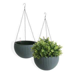 "Algreen Products Wicker Hanging Planters - 10"" - Plastic - Gray - 2 pcs"