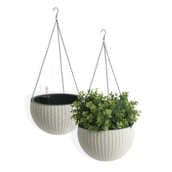 "Algreen Products Wicker Hanging Planter - 10"" - Plastic - White - 2 pcs"